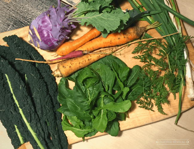A wood cutting board loaded with leafy greens, green onions, kale, kohlrabi and carrots